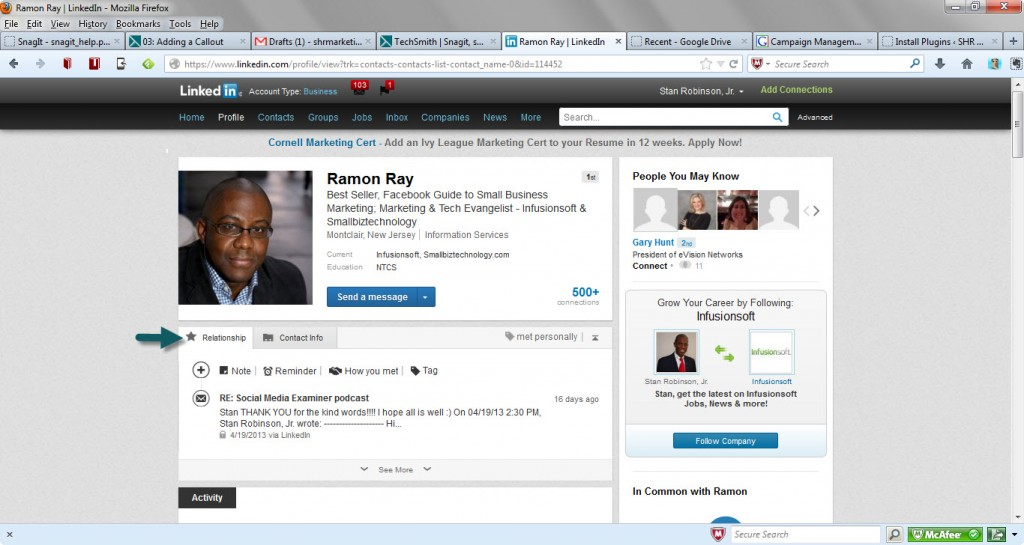 LinkedIn - new Contacts relationship tab